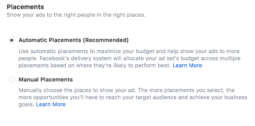 Select your ad placements