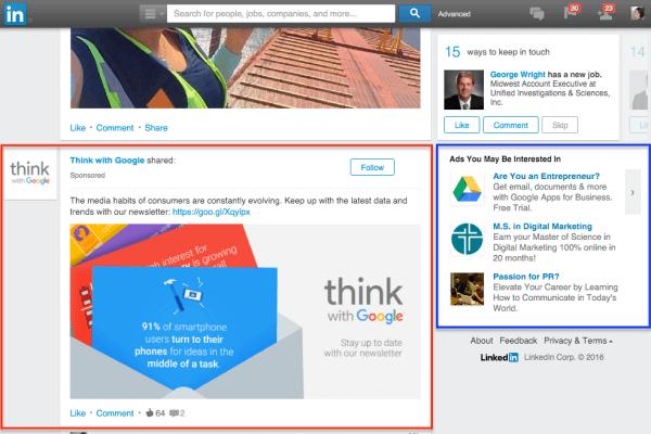 Advertise through LinkedIn