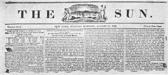 "In the year 1835, a newspaper called ""The New York Sun"""